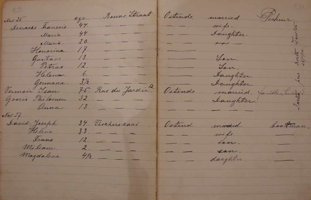 A photograph of a historical document: Alice Clapp's logbook, recording the names of Belgian refugees accommodated in North Tawton during the First World War. The names are written in curling handwriting, and record names, ages, familial status and addresses of origin for the refugees.