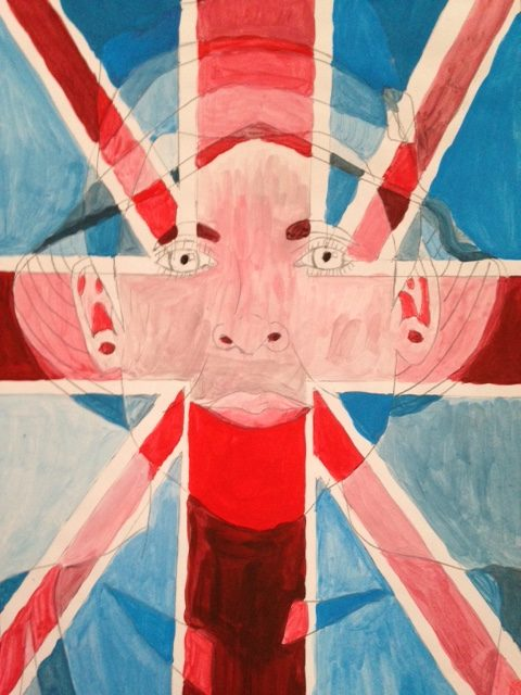 A hand-crafted painting, in which a Union Jack flag is overlaid on a background image of a face, looking out directly at the viewer. The person in the picture appears to be wearing a hat, and is pictured from between the bottom of their collarbone at the bottom of the picture and just above the top of their head at the top of the picture.