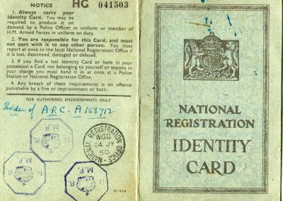 Identity Card. Image courtesy of Tiverton Museum of Mid Devon Life.