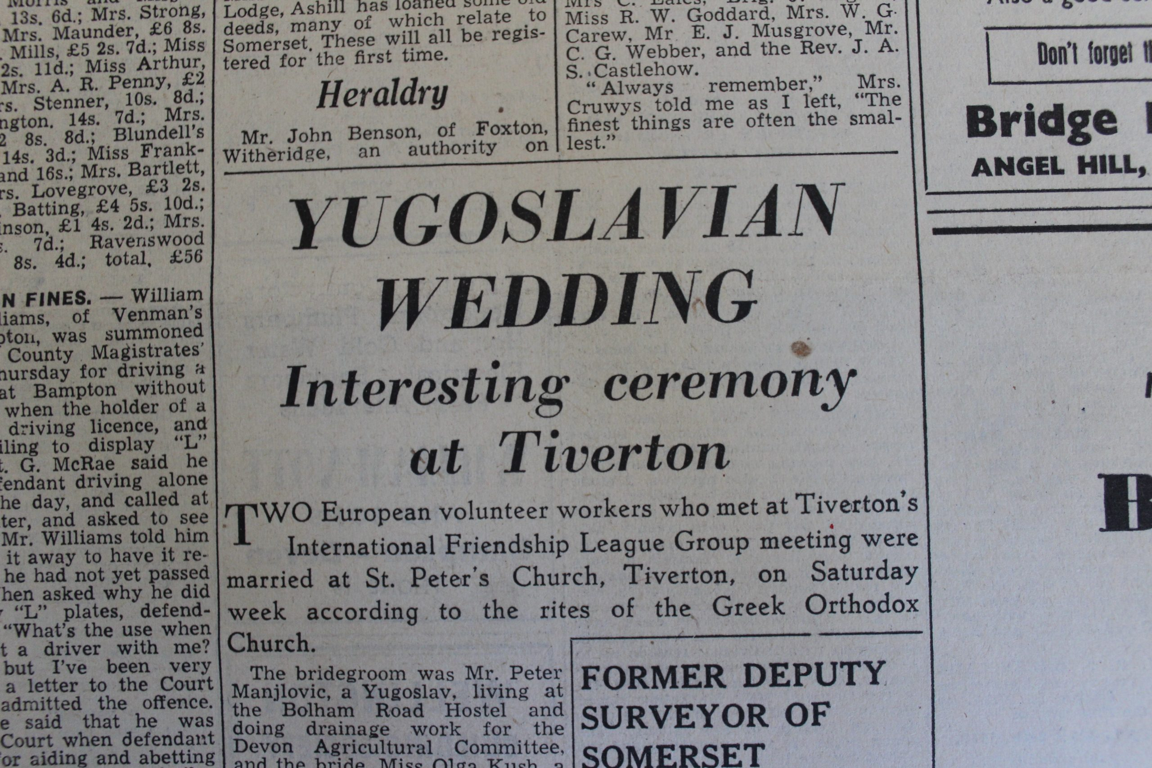 Wedding Article. Image courtesy Tiverton Museum of Mid Devon Life