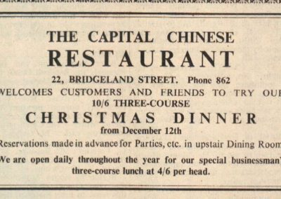Newspaper clipping advertising Bideford's first Chinese restaurant's Christmas Dinner bookings (origin unknown)