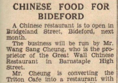 Newspaper clipping detailing Bideford's first Chinese restaurant (origin unknown)
