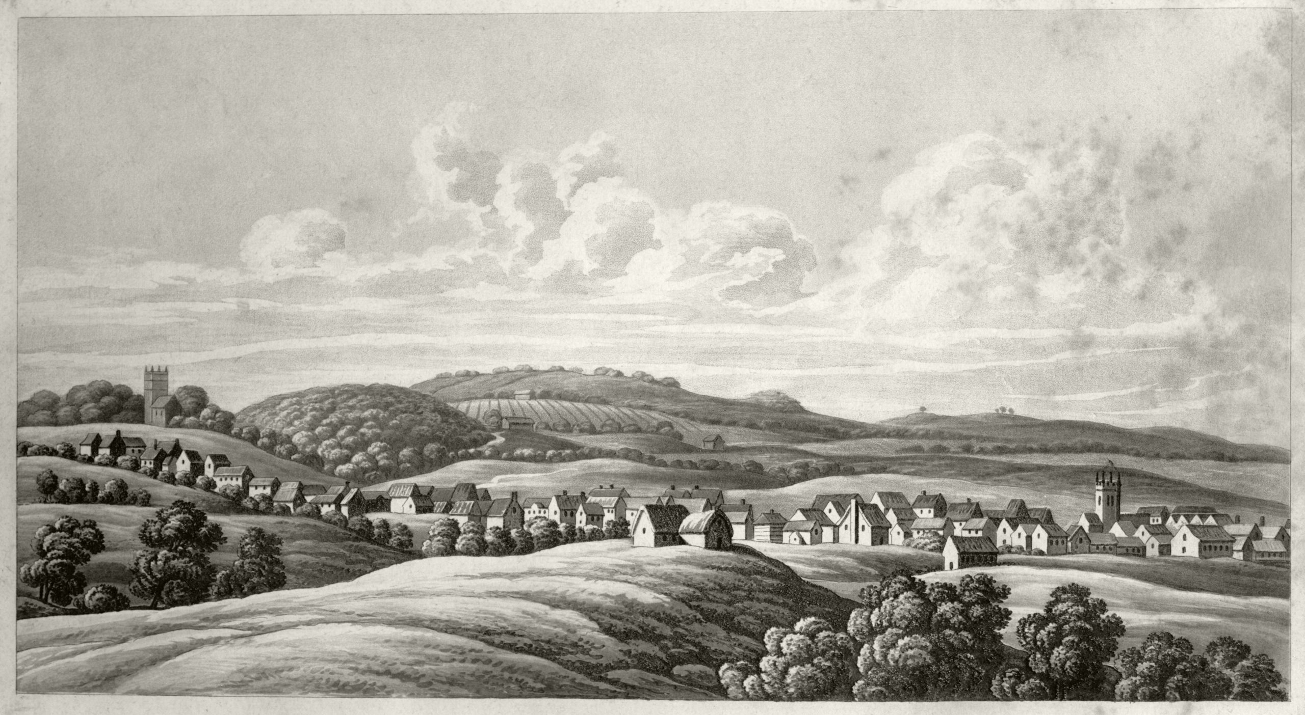 Okehampton 1669 (1821 print). Image courtesy of the Museum of Dartmoor Life.