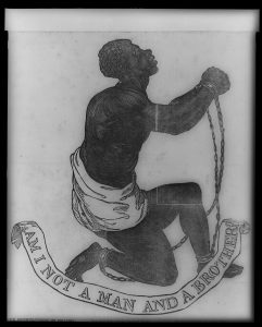 Woodcut illustration of a male slave in chains. Image courtesy of Library of Congress Rare Book and Special Collections Division, Washington, D.C.