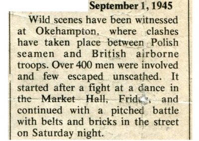 Newspaper clipping detailing a famous fight between Polish naval personnel and British airborne troops