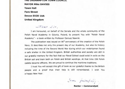 The letter accompanying the book 'The Polish Naval Academy' by Professor Dariusz Nawrot held by Okehampton Town Council