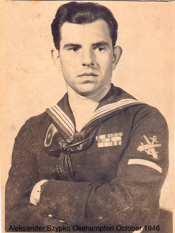Aleksander displaying his Able Seaman insignia following promotion on 31 March 1946
