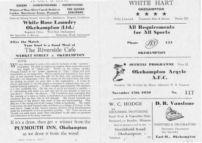 Okehampton Argyle match programme