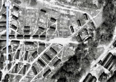 An original aerial view map of the camp